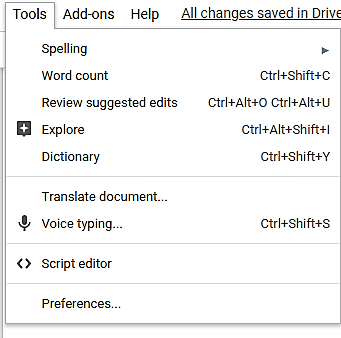 tools in google docs