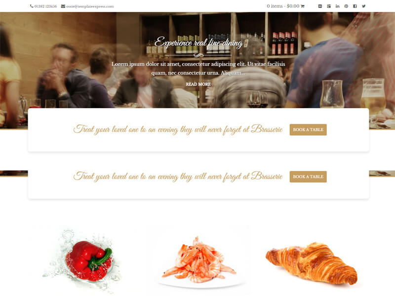 Brasserie WordPress restaurant theme