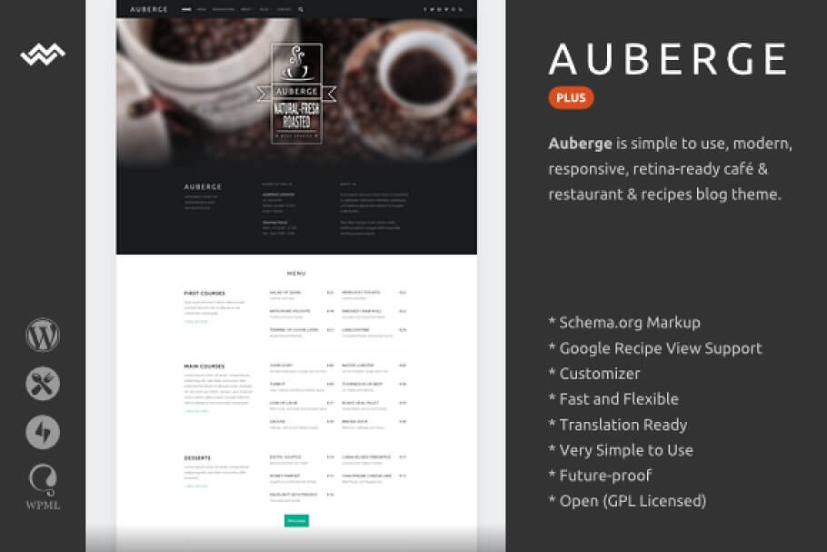 Auberge WordPress Restaurant Theme