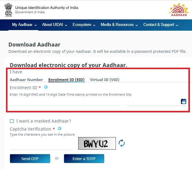To Download A-Aadhar Card Using The Enrollment ID