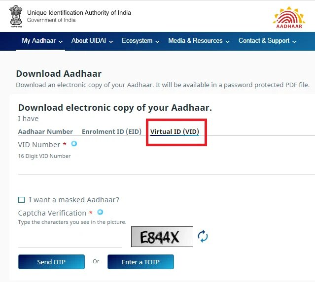 Download Aadhar By Virtual ID