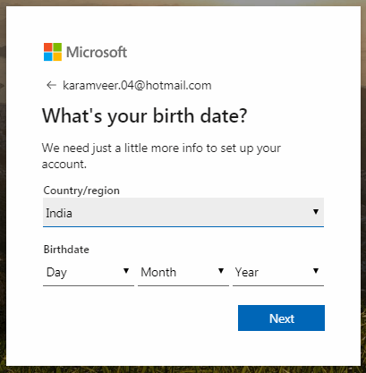 Choose your region and Birthdate