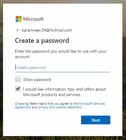 Create a Password