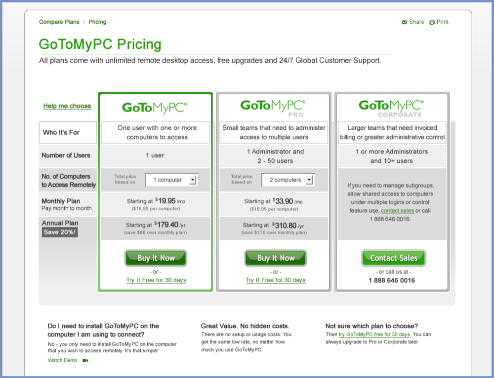 GoToMyPC - It just Lets You Access Your Remote Devices With Using A Browser: Windows Remote Desktop Connection - Windows Inbuilt Feature That Let You Access Your Remote Devices
